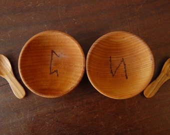 Runes Salt and Pepper Cellars with Spoons