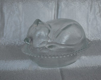 Vintage Clear Glass Sleeping Cat Kitten Candy Dish Covered Bowl Indiana Glass