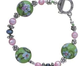 Sakura Lampworked Beaded Bracelet Jewelry Making Kit with Fresh Water Pearls