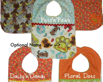 Handmade personalized two color bib