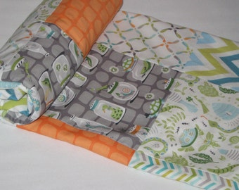 Backyard Baby Patchwork Minky Quilt - Bug Jars, Lightening Bugs, Reptiles, Turtles, Green, Gray, Orange, Nursery Blanket - MADE TO ORDER