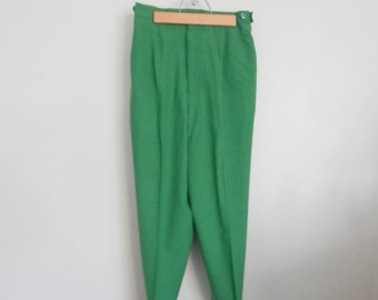 Vintage 1960s Pants - Deadstock Holiday Green High Waisted 60s Stirrup Pants