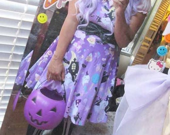 Candy Cemetery Dress Purple, Halloween Dress, Candy Dress, Candy Corn Dress