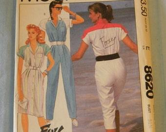 Vintage McCall's Foxy Lady Dress and Jumpsuit Pattern # 8620 Uncut