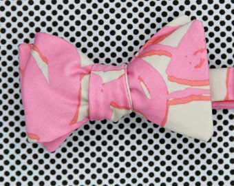 neon pink & stone bow tie // self tie bow tie // floral bow tie