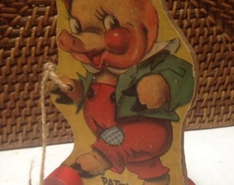 Vintage Patty Pig pulltoy