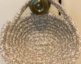 "Hanging Basket - Doorknob  Basket - Coiled Fabric Basket  - 8"" wide 4"" tall"