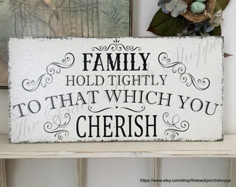 READY to SHIP, FAMILY, Family Sign, Cherish, Love, Wedding Signs, 24 x 12