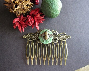 Bee Hair Comb, Bumble Bee, Antique Brass, Button, Sage Green, Nature Inspired, Victorian Hair Comb, Boho, Woodland Bee, Hair Comb, Filigree