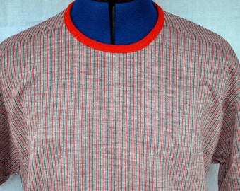Vintage 1960s Kool Threads Tee Shirt Red and Blue Knitted Poly Cotton Blend - Men's T Shirt Deadstock