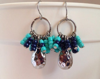 Blue Little Bunches from the Southwest Pierced Dangle Earrings