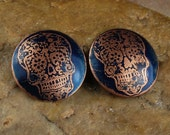Etched Copper Metal Stamps, Earring Beads, Sugar Skulls #813 by CC Design