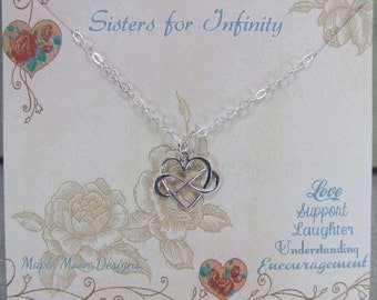 Infinity Necklace,Sisters For Infinity,Infinity And Heart Jewelry, Sister Necklace,Sister Card, Gift For Sister,