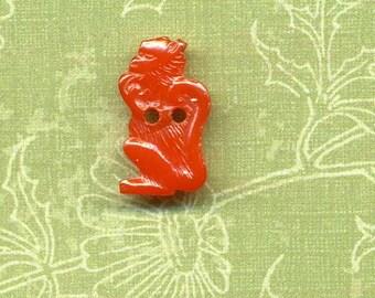 Vintage Bakelite Realistic Button - Monkey - Orange
