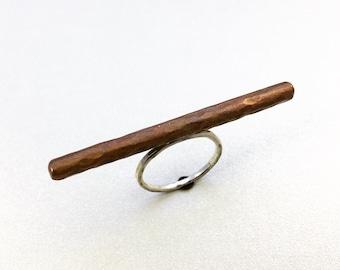 Copper Ring - Balance Rod - Sterling Silver Band - Jennifer Cervelli Jewelry