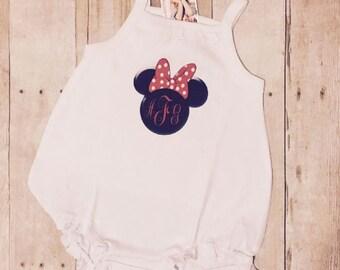 Monogram Minnie Mouse sun bubble ruffle romper