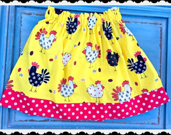 Girls Chicken skirt funky Chicken retro rooster skirt  2t 3t 4t 4/5 6/6x 7/8 10/12 Ready to Ship