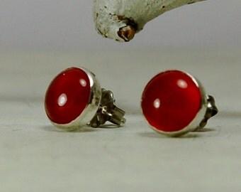 Orange Carnelian stud Earrings Sterling Silver Posts Earrings
