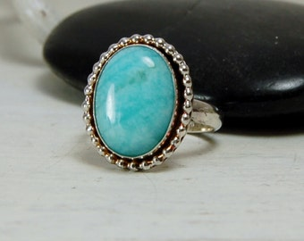 Gorgeous Amazonite Ring Tiffany Blue Sterling Silver Ring Silversmith