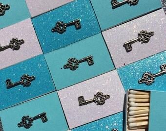 10 Matchbox Wedding Favors White Cream Silver Gold Skeleton Key Hotel Key to my heart Personalized Custom Sparkler Perfect Match Cigar Bar