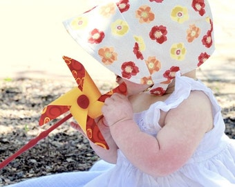 UB2 VAN-GOGH'S SUNFLOWERS a warm, impressionistic, sunfloweristic, yellow chevron summer sun hat bonnet The Urban Baby Bonnet (all sizes)
