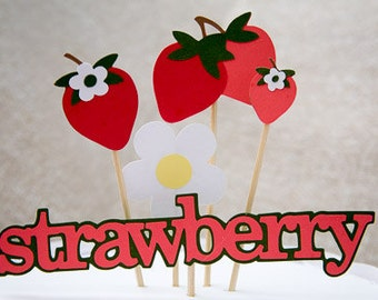 Strawberry theme cake topper