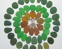 Beautiful Pendants Autumn Assortment (50+)  Forest Amber etc Jewelry Quality Genuine Beach Sea Glass Lot from Glass Beach (E2)