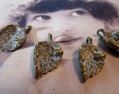 Frosted White Patina on Bronze Ox Plated Leaf with Ladybug Charms 1145BRZWHT x4