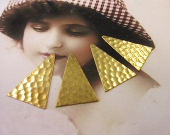 Natural Raw Brass Triangle Hammered  Drops 2000RAW  x4
