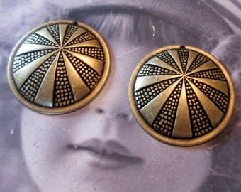 Brass Ox Plated Art Deco Style Brass Stamping Pendants 266BOX x2
