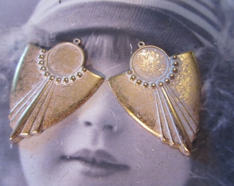 Gold Plated Frosted White Patina Brass 13mm Art Deco Style Bezel  199WHT  x2
