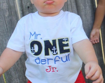 Embroidered T-shirt, Mr. One-derful, Big Sis, Girls, Boys, birthday