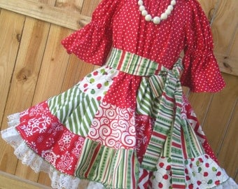 Ready to Ship Custom Boutique Red Green Christmas Peasant Dress Girl Size 4 or 5 or Slim 6
