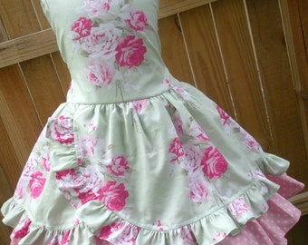 ON SALE Ready to Ship Custom Boutique Spring Dress Shabby Chic Girl Size 5 or 6 Pink Tanya Whelan