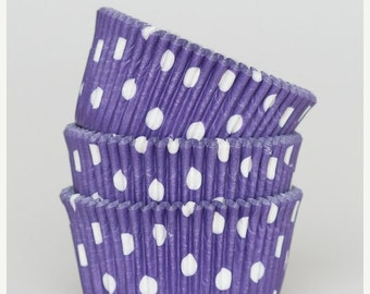 Summer Stock Up Sale 50 Pc Pretty Purple Polka Dot Cupcake Liners 2X1.25 Inch Size Perfect for Parties