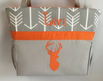 ARROW  ...   ORANGE DEER  Silhouette  .. DiAPER Bag .. Applique   ... Bottle Pockets ... Personalized
