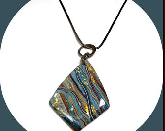 Turquoise Antique Brass Necklace- Modern Statement Necklace- polymer clay Jewelry-Gifts for Her- Polymer clay Pendant
