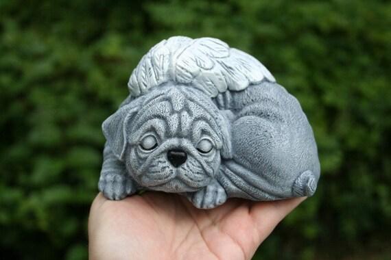 Pug Angel Statue   Angel Dog Garden Sculpture   Solid Concrete Pet Memorial