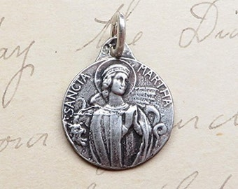 Small St Martha Medal - Patron of homemakers & chefs - Antique Reproduction