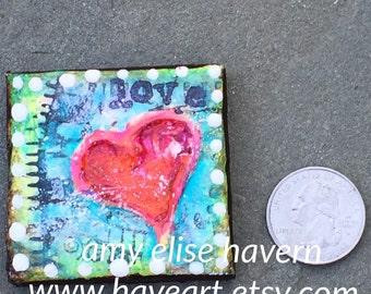 Love small HEART ART canvas 2x2