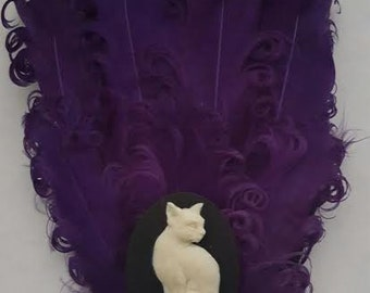 Cat, Cat fascinator, Kitty, Kitty fascinator, Cat clip, cat barrette, Feather, Feather fascinator, Purple feathers, ready to ship