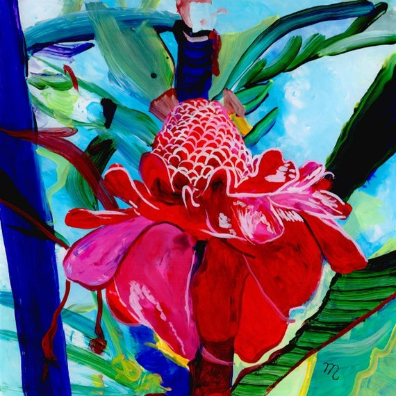 Torch Ginger Original Reverse Acrylic Painting Kauai Hawaii