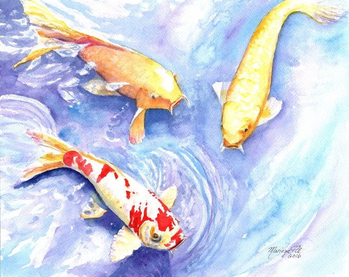 Koi art prints 8x10, koi fish art, asian koi paintings, koi pond, orange koi, yellow koi, gifts for him, Japanese koi, feng shui art