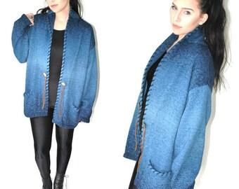 long blue southwestern cardigan 80s vintage ombre knit slouchy sweater open size