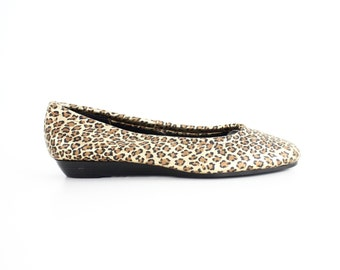 size 7.5 | Vintage Leather Flats | Leopard Print Leather Shoes  | Round Toe Leather Flats | 38