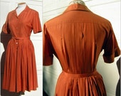 RESERVED For Isabelle Orange Silk Pongee Dress Vintage 50s Soft Fall Color Custom Tailored - Exceptional Quality Bust 41""