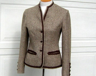 Vintage Brown Tweed Jacket 1970s Devon Hall Prim & Preppy Size 10 Loden Style Fitted Wool- CLEARANCE