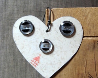 50% OFF SALE Vintage Valentines Day Heart Tin Ornament