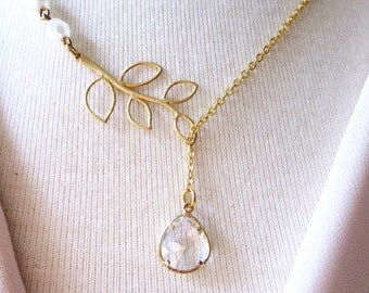 Crystal Asymmetrical Necklace, Gold Leaf, Czech Beads, Vintage Style, Bridal Necklace, Wedding Jewelry
