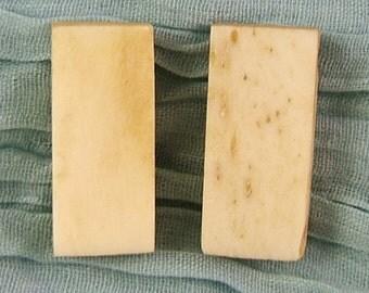 2 Blank Mah Jong or Domino Bead in Bone